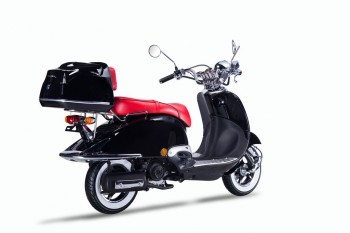 TECHNO CLASSIC 2.0 RETRO ROLLER 50ccm schwarz mit Topcase und roter Sitzbank 45kmh