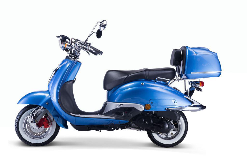 motorroller techno classic retro roller blau mit schwarzer. Black Bedroom Furniture Sets. Home Design Ideas