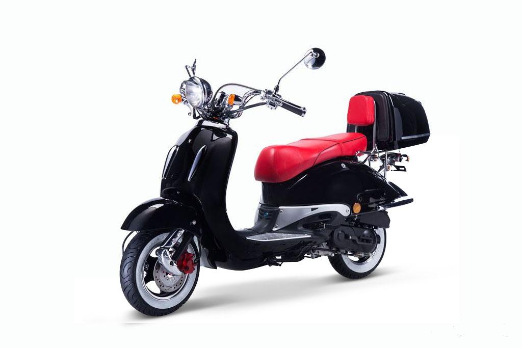 Motorroller Techno Classic Retro Roller Schwarz Mit Roter Sitzbank