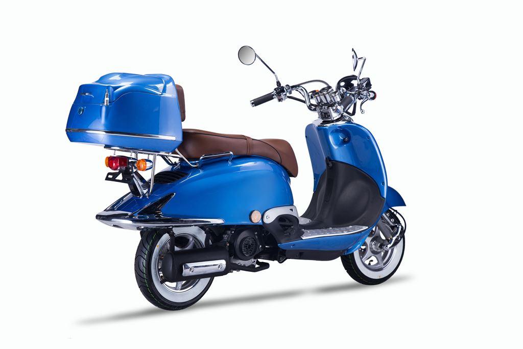 motorroller techno classic retro roller blau mit brauner. Black Bedroom Furniture Sets. Home Design Ideas